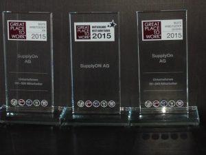 """Die drei Auszeichnungen von Great Place to Work im Wettbewerb """"Deutschlands Beste Arbeitgeber 2015"""""""