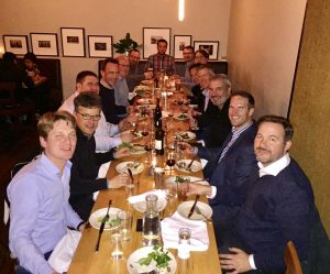 European Aerospace Cluster Delegation dinner headed by Norbert Steinkemper (front left) on Sun, Feb 12th