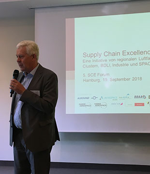 Dr. Franz Josef Kirschfink, Managing Director of Hamburg Aviation, welcomed the participants of the SCE Forum.