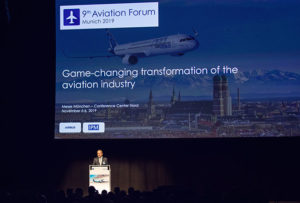 Prof. Dr. Johannes Walther welcomed all participants the Aviation Forum (photo courtesy of IPM AG)
