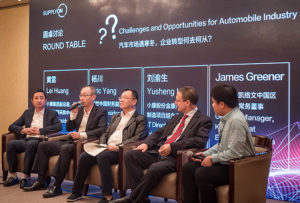 Panel discussion on the challenges and opportunities in the automotive industry, with Huang Lei (Sokon), Yang Chuan (Bosch), Lui Yusheng (Sokon) and James Greener (Kelvion; from left to right)