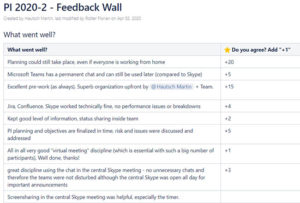 We received lots of positive feedback on our virtual feedback wall - as well as great ideas on how to further improve next time